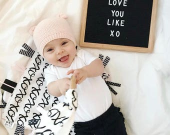 XOXO - Baby girl lovey tag sensory security blanket toy pink faux fur minky personalized embroidered boho woodland modern black white blush