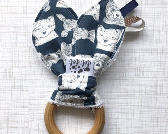 Woodland Friends - Baby Boy Teething Ring Toy - Cotton Terry Washable Wood Wooden Modern woodland boho deer fox bears navy blue