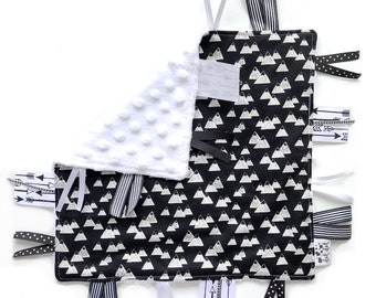Adventure - Baby Boy Toy + tag lovey sensory security blanket black white minky - monochrome modern woodland mountains personalized