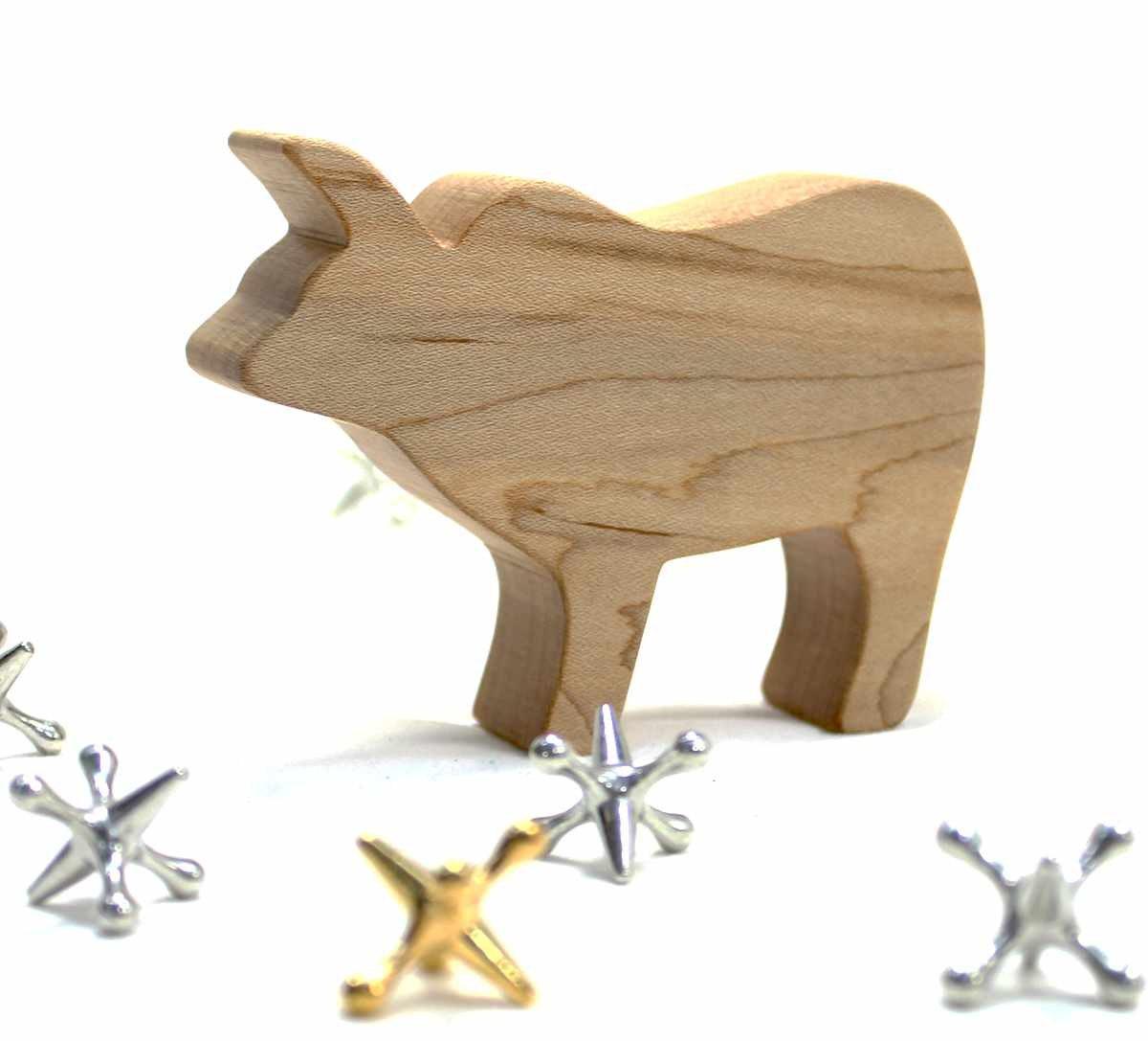 Wild Animal Toy Zebu Natural Wood Toy Cattle Decor Exotic