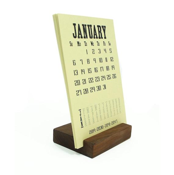 wood block calendar stand 2019 desk calendar etsy
