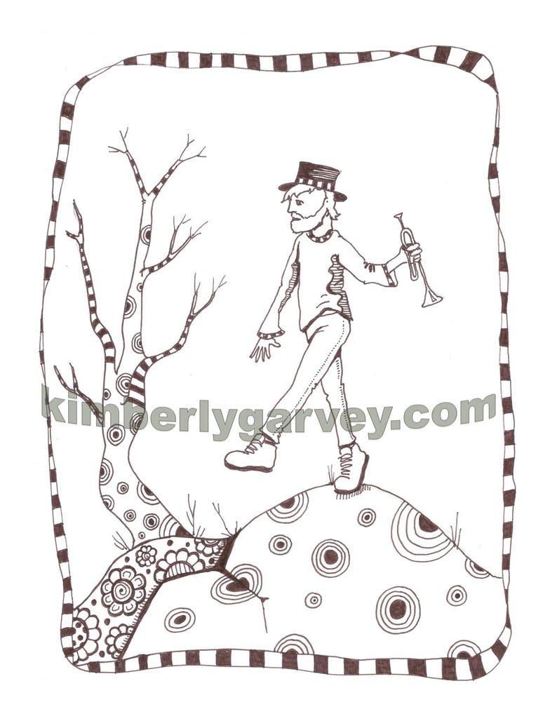 Trumpet Boy -PDF Digital coloring page