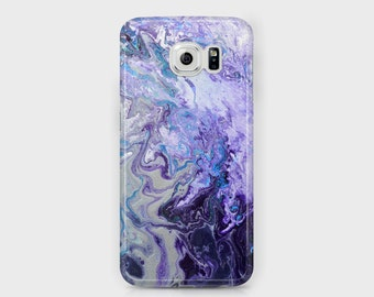 Purple   White Marbled Samsung Phone Case - Amethyst Purple Blue and Silver  Abstract Unique Samsung Phones - Samsung Galaxy S6 6f7645b36