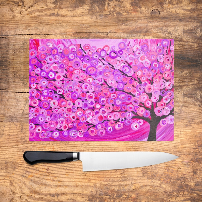 Raspberry Pink Tree Glass Chopping Board   Pink And Purple Worktop Saver,  Platter, Large Cutting Board, Kitchen Gift, Kitchen Accessories