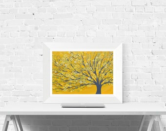 Yellow Abstract Tree Print - Yellow Wall Art Print Of Original Abstract Tree Painting By Louise Mead In Yellow And Grey