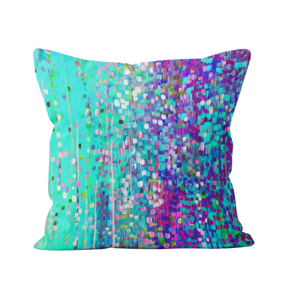 Turquoise Purple Abstract Cushion Bright Blue And Violet Etsy