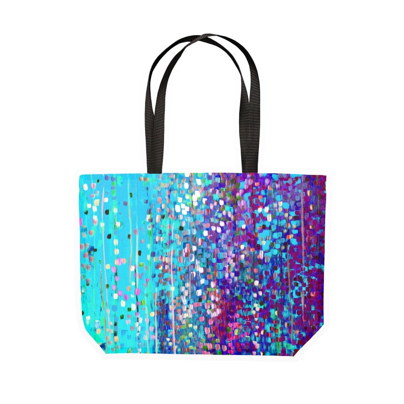 Blue /& Purple Impressionist Large Canvas Shopping Tote Bag Shopping Tote Bag Machine Washable Abstract Impressionist Broken Colour Art