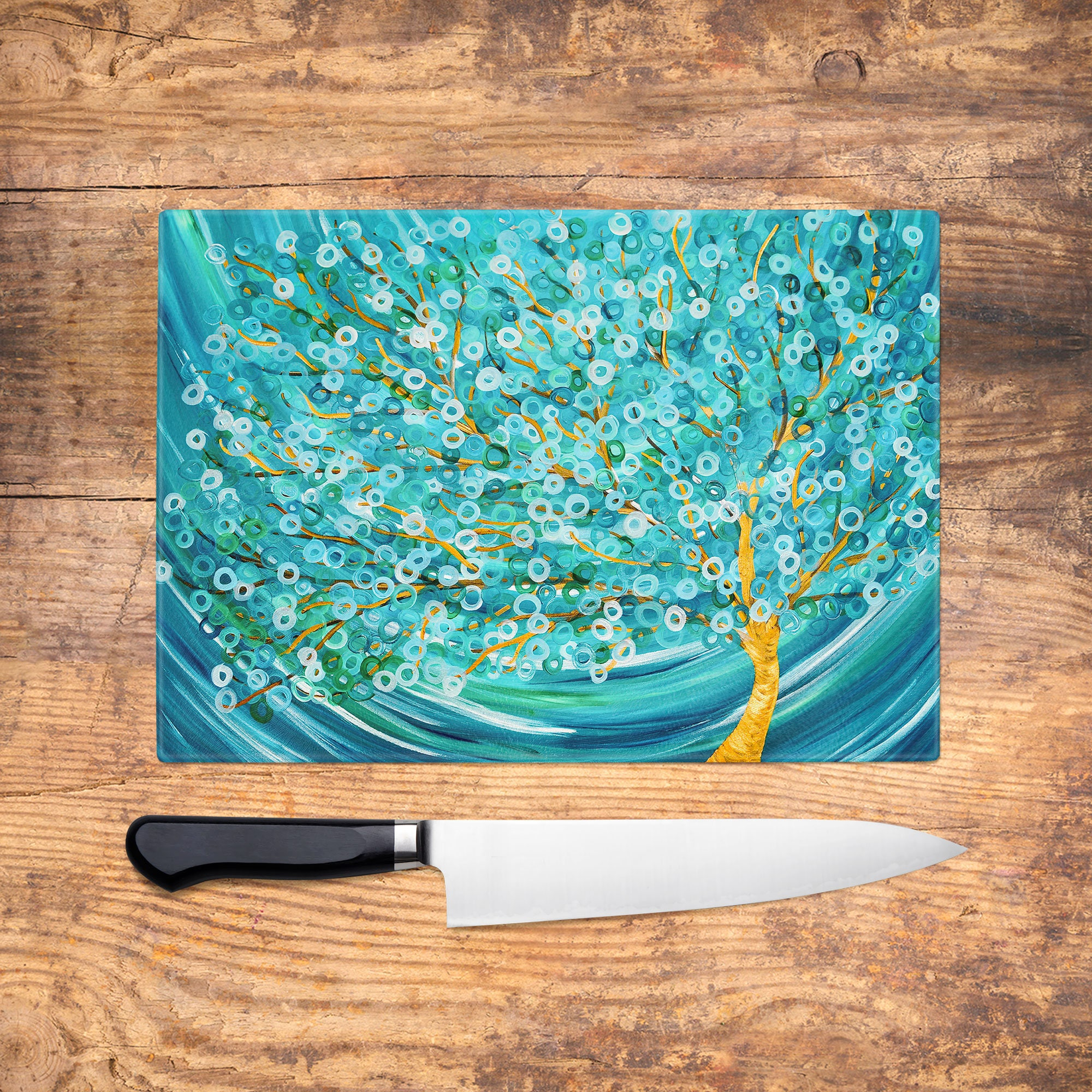 Teal Tree Glass Chopping Board Winter Tree Abstract Worktop | Etsy