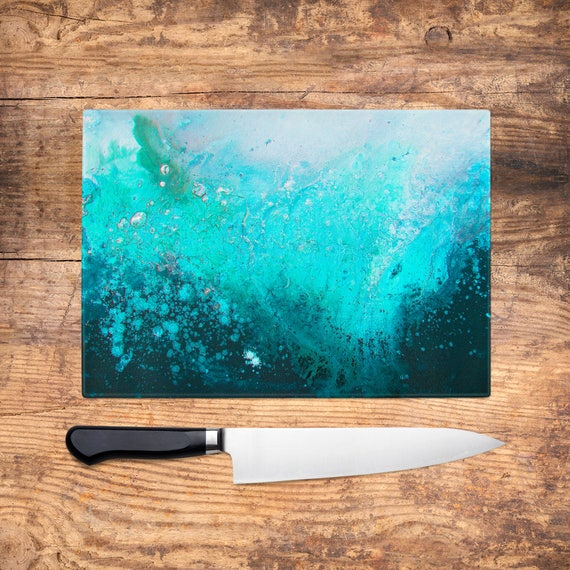 Blue Navy White Black Cool Glass Chopping Board Kitchen Worktop Saver Protector