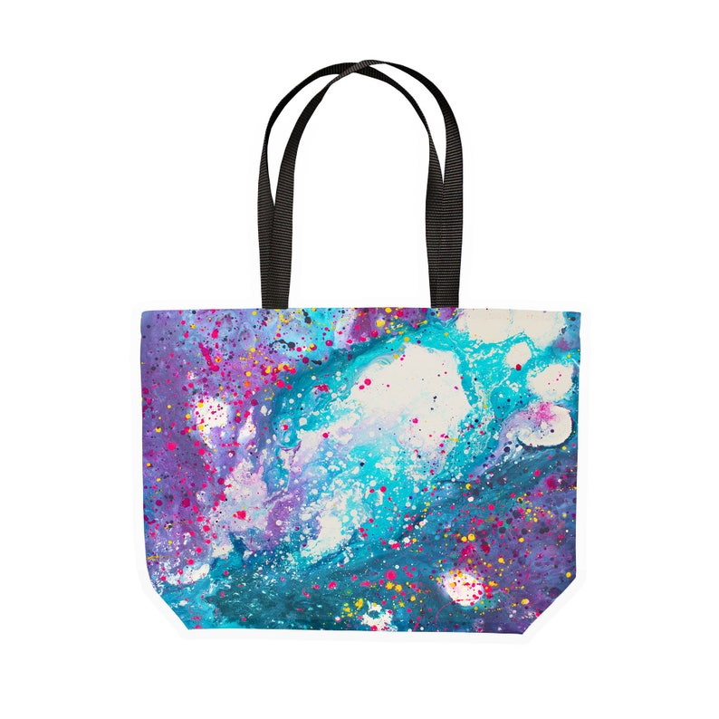 Stardust Purple /& Turquoise Large Canvas Shopping Tote Bag Cosmic Space Inspired Abstract Art Large Eco Friendly Sturdy Canvas Tote Bag