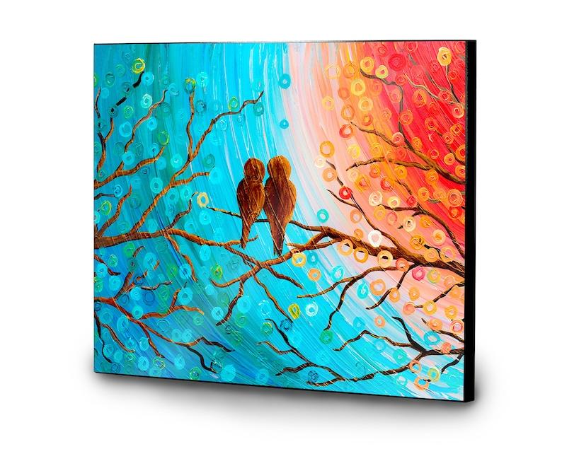 Turquoise, Turquoise & Orange tourtereaux au coucher de soleil arbre en  bois panneau Art Print - petit Art Print, impression bois, pépinière Art,  Art ...