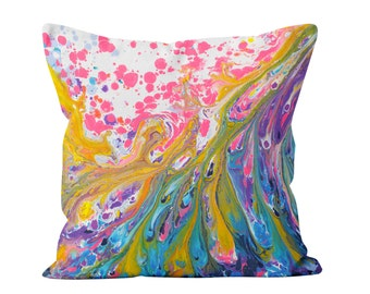 Colourful Square Cushion - Blue, Purple, Pink, Gold, And White Square Decorative Pillow By Artist Louise Mead Available In Two Sizes