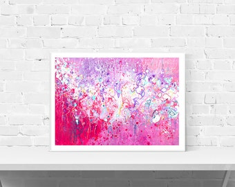 Pink Art Print - Pink & White Abstract Expressionist Fluid Art Print, Available In Large, Small, Or Medium, Pink Abstract Landscape Clouds
