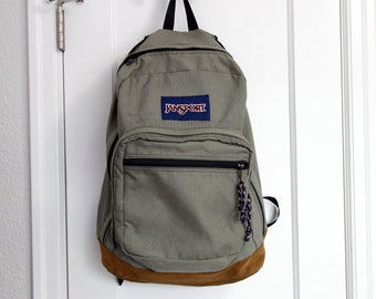 56c720d402c3 Classic Old School Jansport Light Green or Gray Suede Leather Bottom Bookbag  Backpack 1980s 1990s With Lock and Key
