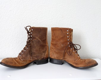 039920926cf7 Vintage Nutmeg Brown Laredo Justin Lacer Packer Roper Cowboy Suede Leather Lace  Up Western Boots 10 Wide USA Made