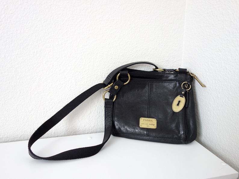 10774f7bdfb Vintage Fossil with Key Fob Soft Black Super Soft Leather Purse Crossbody  Cross Body Satchel Brass Hardware Shoulder Bag