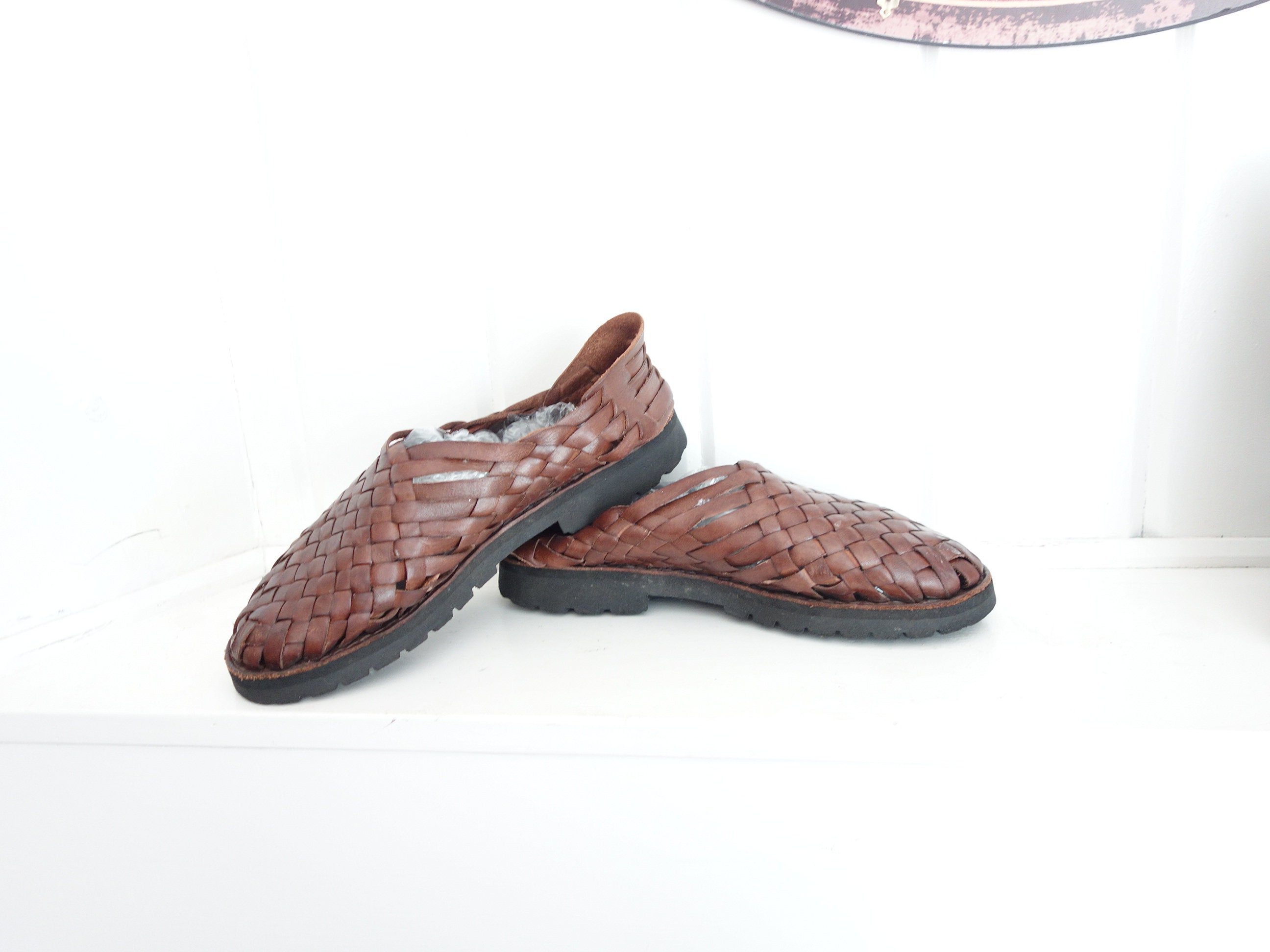 bb44c5753bff Vintage Authentic Mexican Dark Brown Woven Huarache Sandals