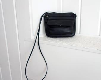 Vintage Black  Fossil Buttery Soft Leather Purse Cross Body Crossbody Shoulder Bag