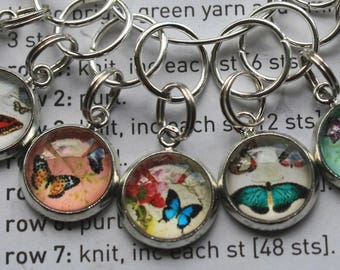 10 Knitting stitch markers vintage butterflies cabochon for knitting or crochet