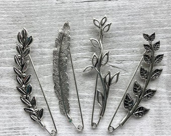 Shawl pin/ brooch leaves and feather