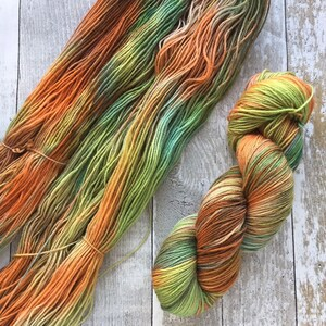 Hand dyed 4ply Polwarth yarn Falling into Autumn 100g