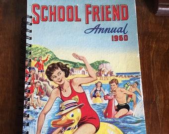 Large vintage book journal- School Friend 1960