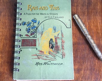 Small vintage book journal - 'Rag and Tag'