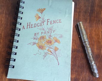 Small vintage book journal - 'A Hedge Fence'