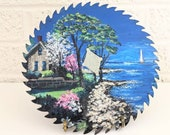 Hand Painted Vintage Saw Blade with Coastal Scene