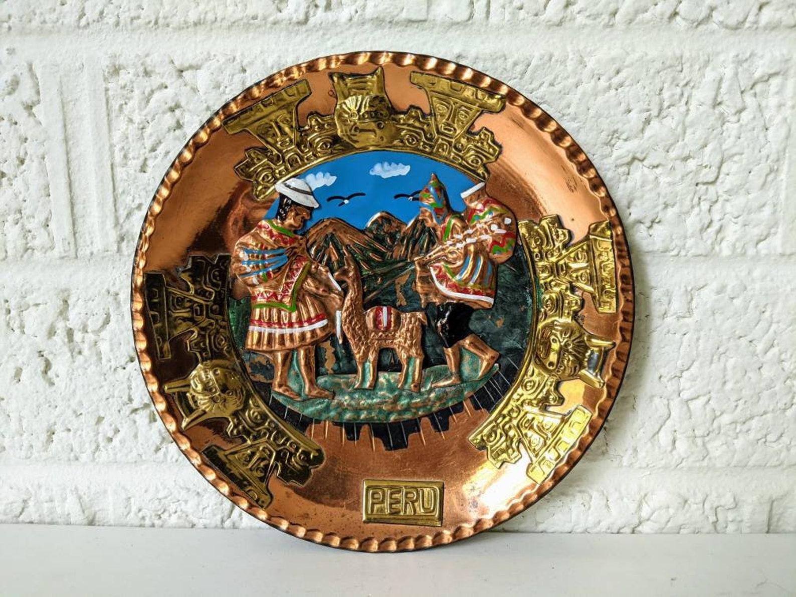 Placca di rame peruviano vintage / Arte murale dal Perù ...