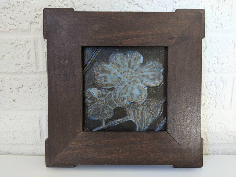 Arts and Crafts Style Dogwood Blossoms A P Framed Lowery Art Tile