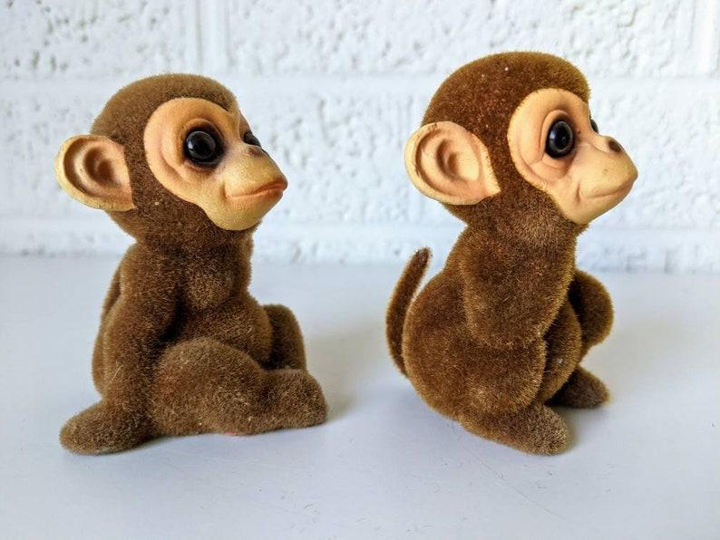 Vintage Josef Originals Pair of Flocked Monkeys
