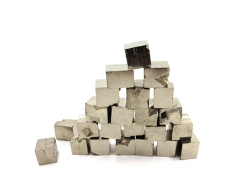 Pyrite Cubes 3 Raw Gold Crystals 10mm - 14mm  Rough Natural Metallic Stones From Spain For Jewelry Making (Lot PY01) Fool's Gold Mineral