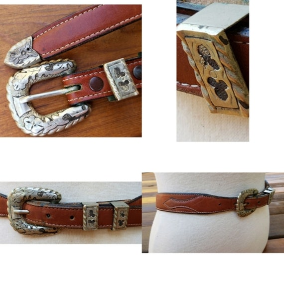 Vintage Mickey Mouse  70's Leather Western Belt/