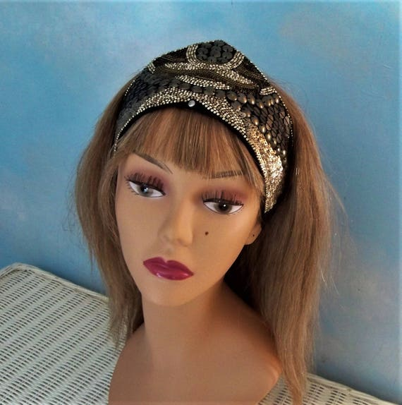 SALE Silver Sequin Headband Bohemian Gypsy Cosplay ethnic  c7b4530d529