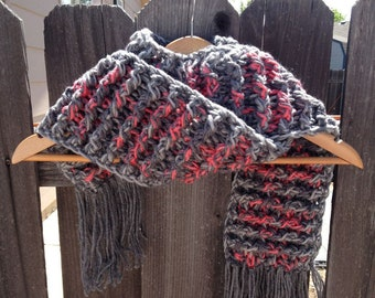 NEW ITEM   Crochet Scarf Pink and Greys Soft  Crochet Chunky Thick Neckwarmer Scarf