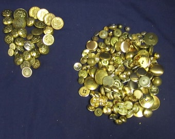 Lot of Metal Goldtone Buttons Assortment Of Age, Styles and Sizes Lot E1