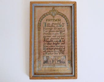 Art Deco Vintage Buzza Motto Framed Print Father Poem and Chippy Blue and Gold Gilt Wooden Frame - Floyd Jones Vintage