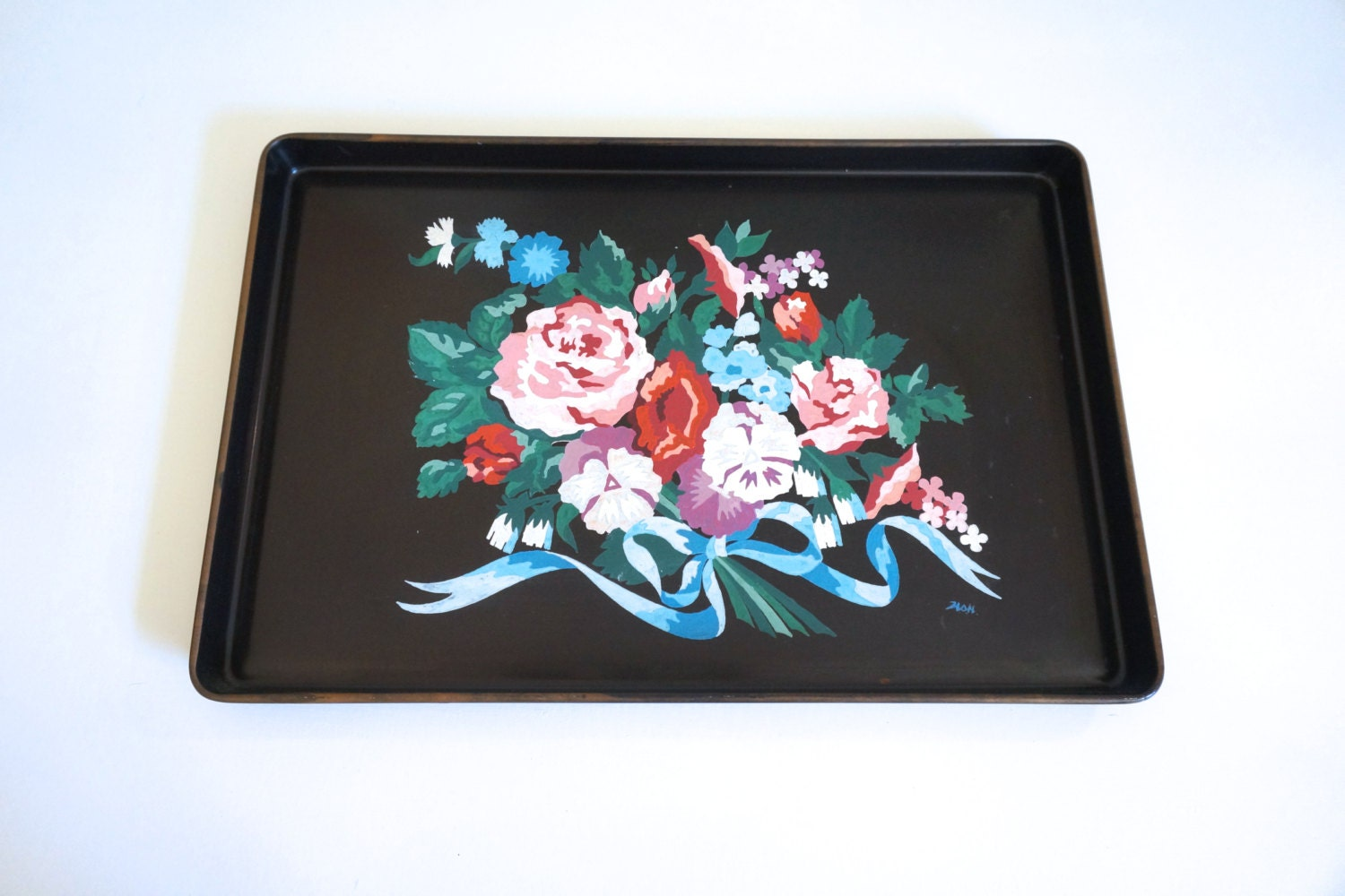 Large Black Metal Serving Tray With Hand Painted Flowers Paint By Numbers Black Tole Tray Enamelware Floyd Jones Vintage