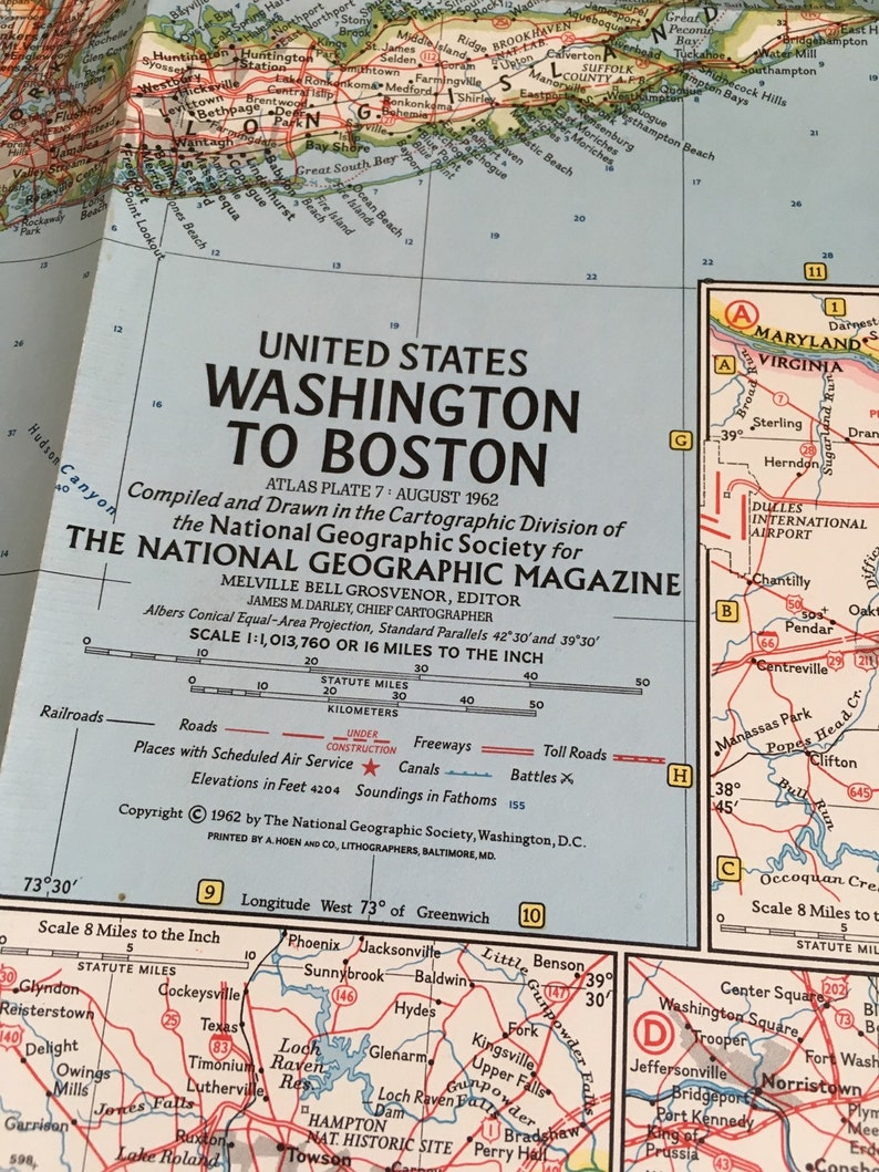 Vintage National Geographic Map United States Washington to | Etsy