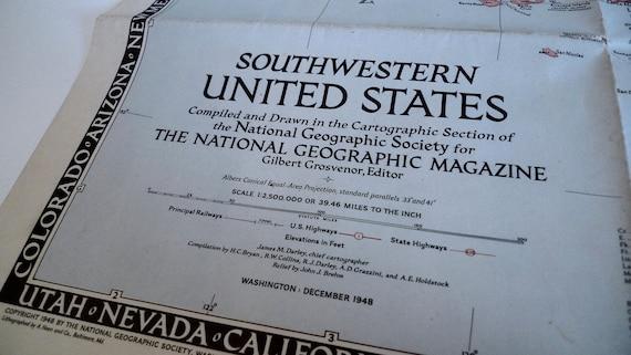 Vintage National Geographic Map Southwestern United States | Etsy