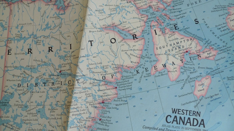 Vintage Map Of Western Canada National Geographic Map Etsy