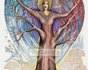 Rooted in Heaven - A7 Card - Tree Spirit in All Seasons
