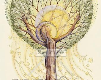 Love in Light - A7 Card - Inspirational Feminine Tree Spirit