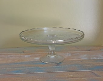 Harp Glass Cake Stand Gold Trim Jeannette Vintage