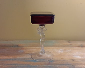 VINTAGE Art Deco Nude Frosted Woman Lid BedroomPowder JarTrinket Box Art Depression Glass