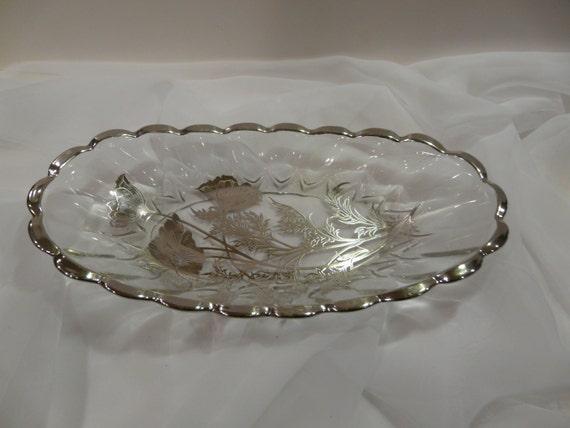 Flanders Poppy Glass Celery Dish Silver City Vintage