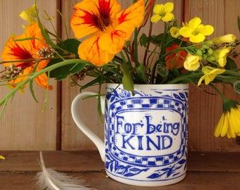 For being kind- bone china lino cut print design bone china Mug.
