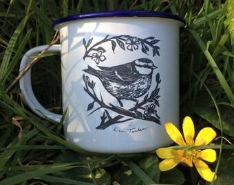Custom etched Bluetit enamel mug