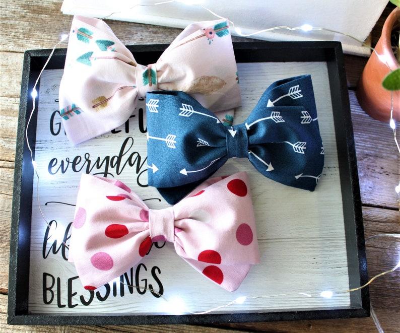 Girl/'s Hair Bows Pink and Blue Fabric Bows School Bows SpringEaster Hair Clips Vintage Sailor Hair Bows
